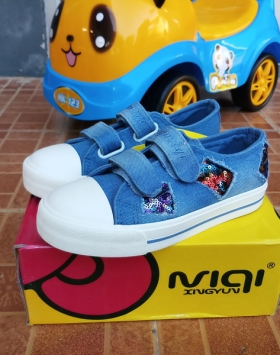 Sepatu Anak Jeans Manik Manik LOL Bercahaya