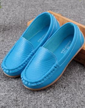 Sepatu Anak Loafers Warna Biru Laut Impor