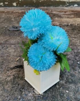 Hiasan Bunga Dahlia Warna Biru Laut