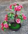 Hiasan Bonsai Bunga Mawar Merah