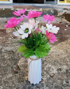 Bunga Matahari Pink Putih