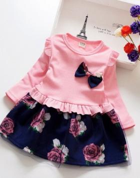 Dress Anak Cewek Flower Blossom Pink Impor