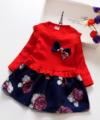 Dress Anak Cewek Flower Blossom Red Impor