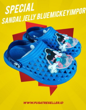 Sandal Jelly Blue Mickey Impor