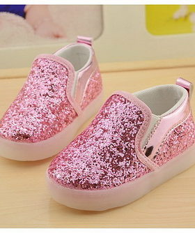 Sepatu Anak Glitter Glossy Pink
