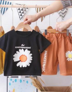Kaos Setelan Anak Usia 1-5 Tahun Gambar Bunga