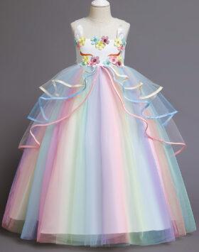Terbaru Gaun Anak Rainbow Uniqorn Putih 2020