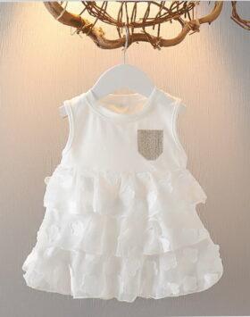 Terbaru Mini Dress Anak Rumbai Putih 2020