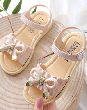 Terbaru Sandal Flat Anak Pita Korea Krem 2020