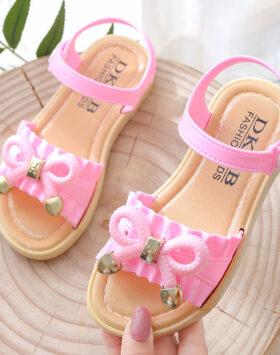 Terbaru Sandal Flat Anak Pita Korea Pink 2020