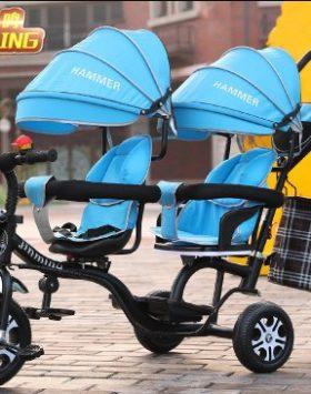 Terbaru Kereta Dorong Bayi Ganda 2021 Biru