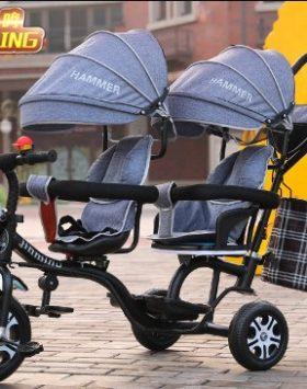 Terbaru Kereta Dorong Bayi Ganda 2021 Grey