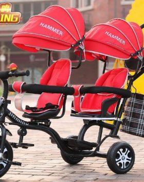 Terbaru Kereta Dorong Bayi Ganda 2021 Merah
