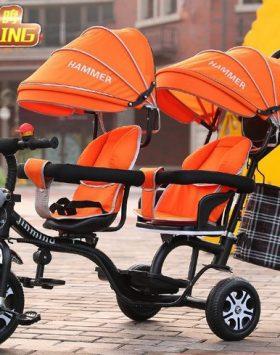 Terbaru Kereta Dorong Bayi Ganda 2021 Orange