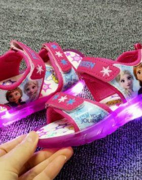 Terbaru Sandal Anak LED Frozen Pink 2021