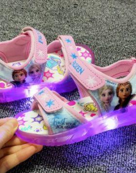 Terbaru Sandal LED Frozen Baby Pink 2021